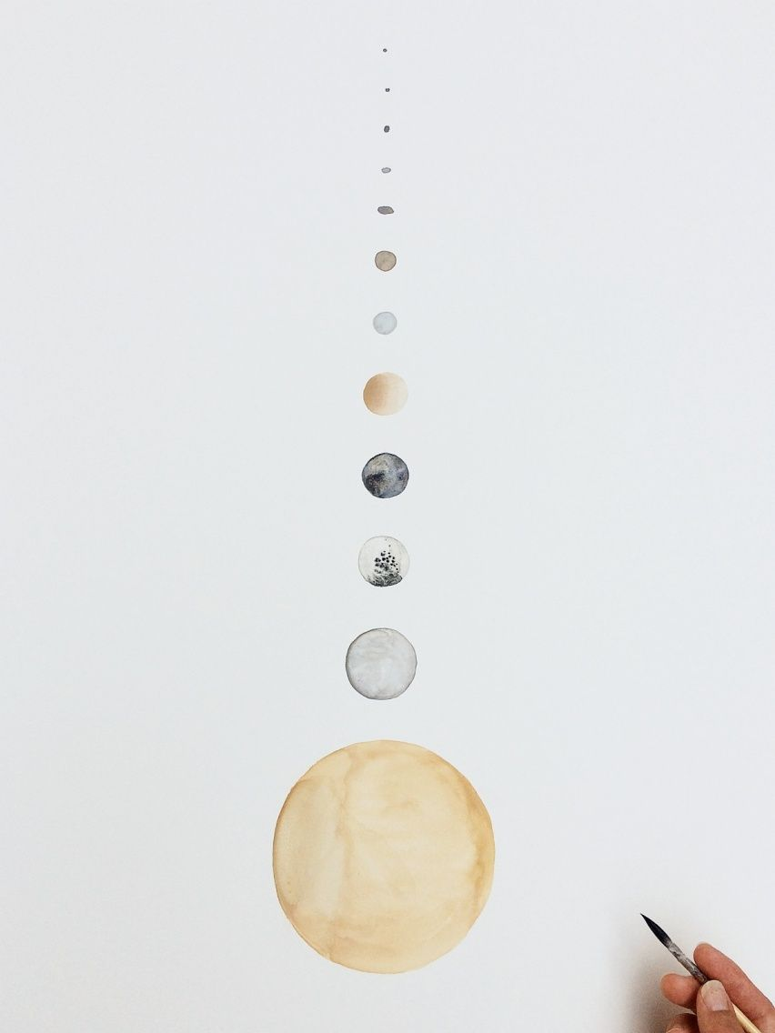 852x1136 Moons Of Saturn Watercolor On Clay On Panel 22 X 30 Www