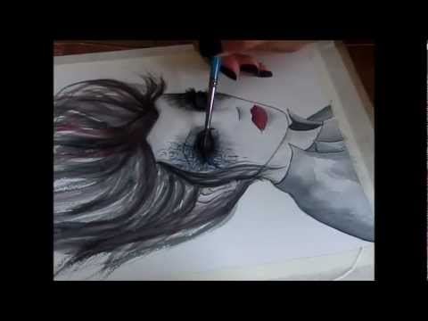 480x360 Watercolor Speed Painting Mysterious Creepy Lady By Tj Lubrano