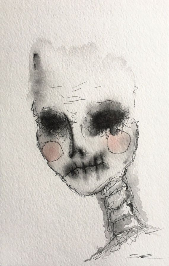 570x894 Disguised Beauty, Horror Art, Watercolor, Horns, Skulls, Scary