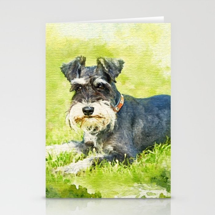 700x700 Miniature Schnauzer Watercolor Digital Art Stationery Cards By