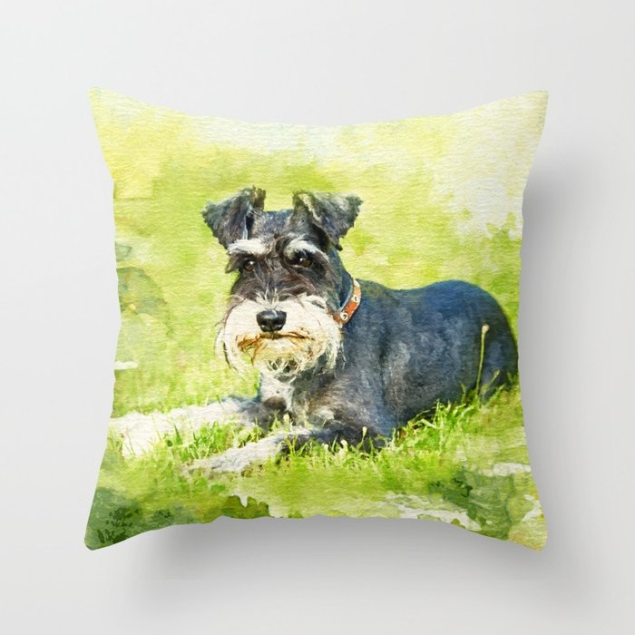 700x700 Miniature Schnauzer Watercolor Digital Art Throw Pillow By