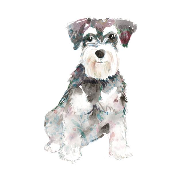 630x630 Miniature Schnauzer Dog Watercolors Illustration