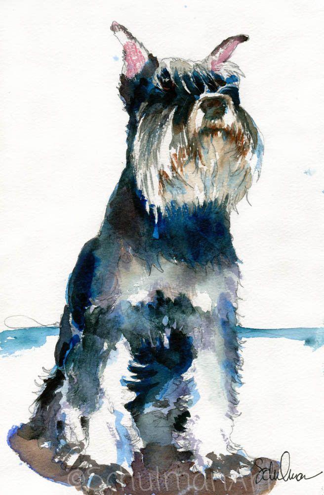 656x1000 Original Schnauzer Watercolor Art Schulman Art