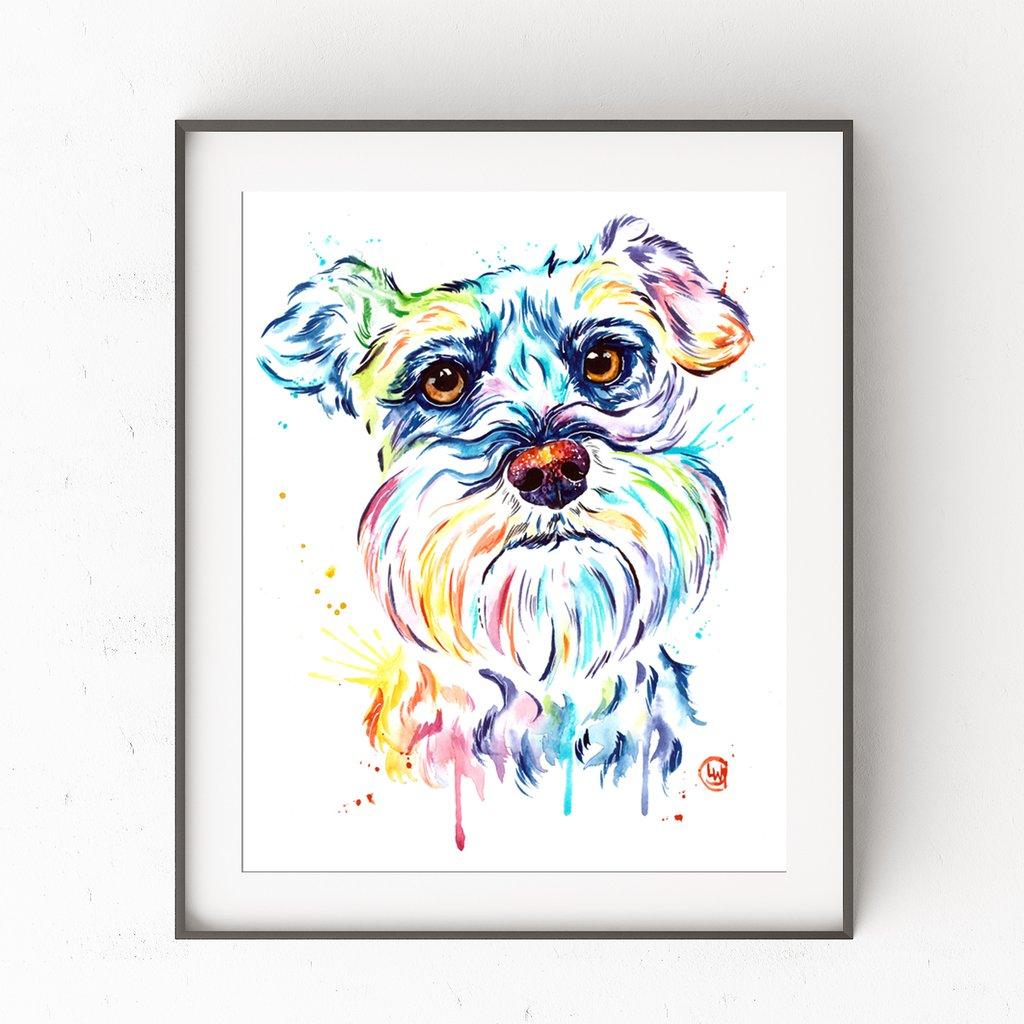 1024x1024 Schnauzer Colorful Pet Portrait Watercolor Painting Whitehouse Art