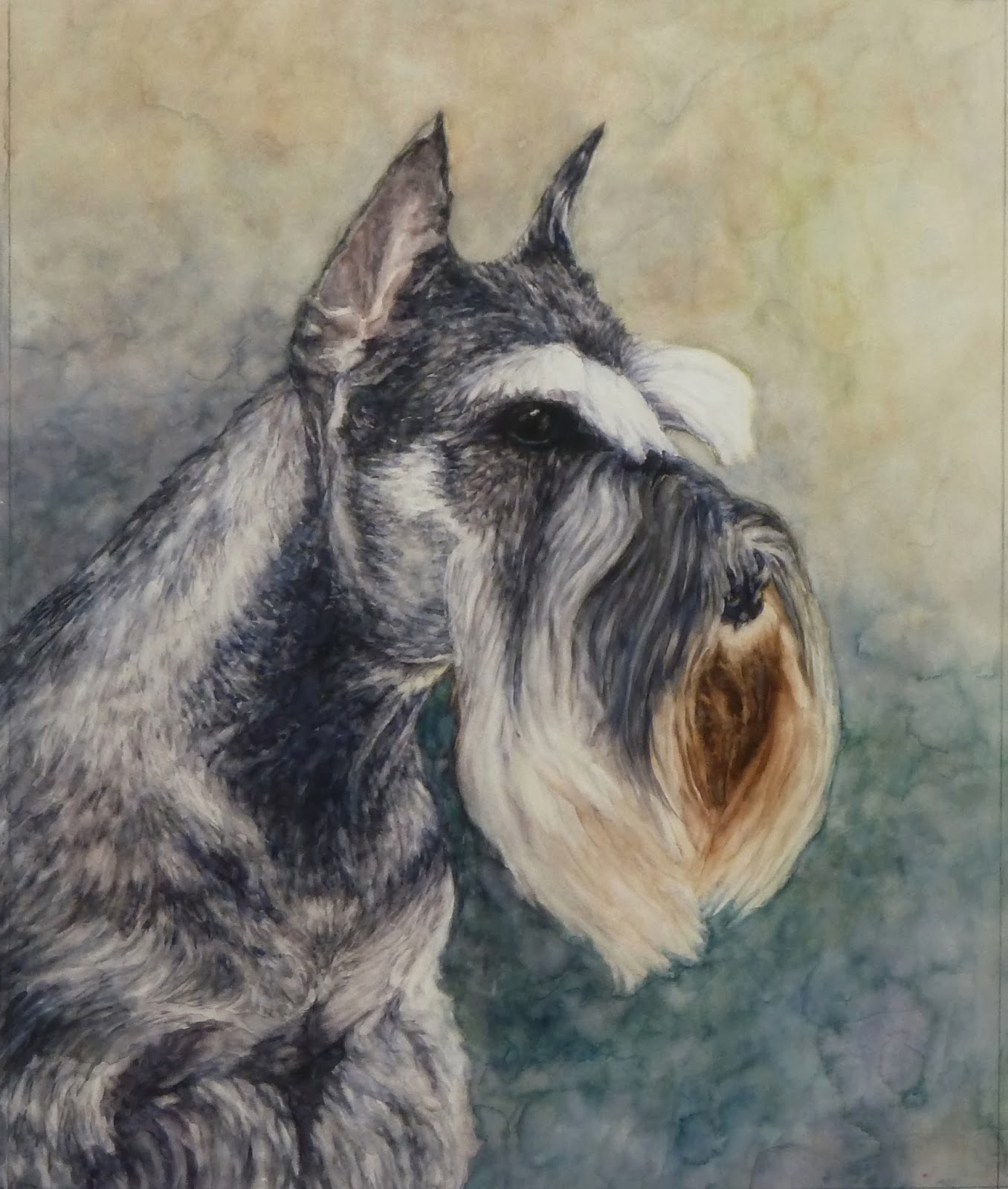 1356x1600 Daily Painting Projects Schnauzer Portrait Watercolor Painting