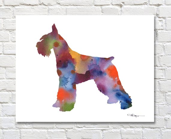 570x465 Giant Schnauzer Watercolor Abstract Painting Dog Wall