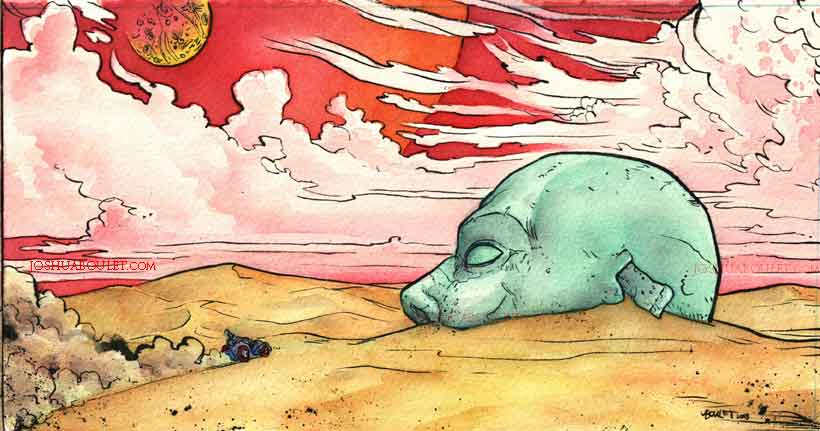 820x431 Dead Planet Sci Fi Watercolor. Inspired By Moebius. Watercolor