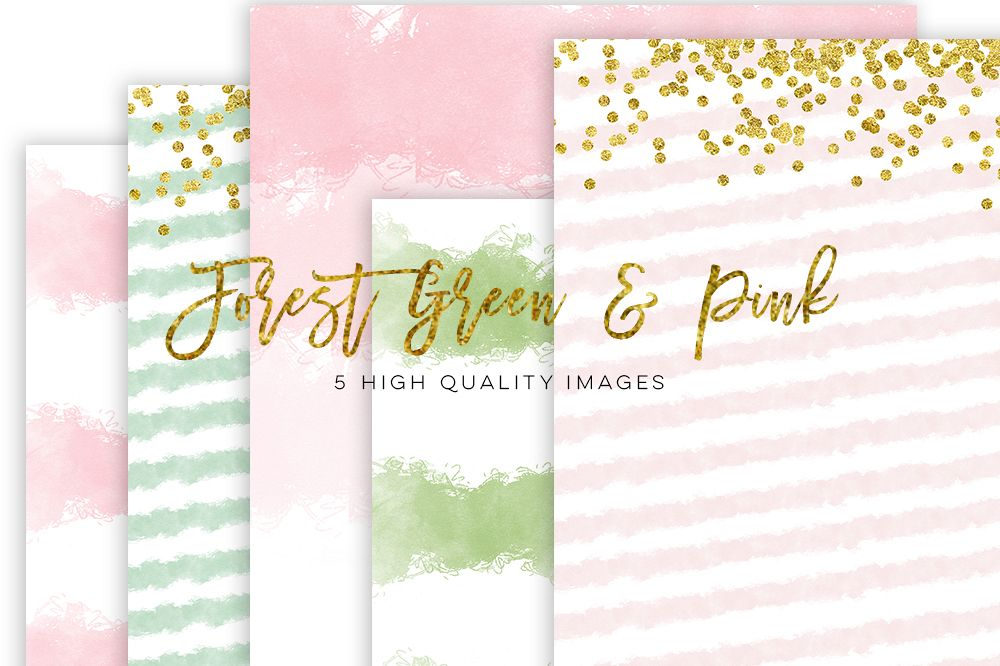 1000x666 Forest Green And Pink Watercolor Paper, Gold Pink Watercolor Paper
