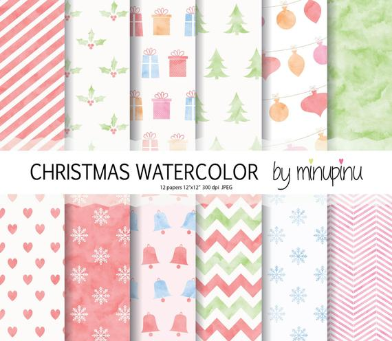 570x496 Christmas Digital Paper Watercolor Christmas Scrapbook Paper Etsy