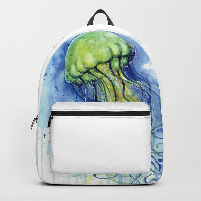 700x700 Jellyfish Watercolor Beautiful Sea Creatures Backpack By Olechka