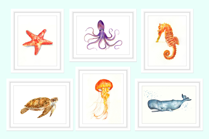 690x460 Sea Life Set Of 6 Prints, Watercolour By Breezy Bird Goodies On Zibbet