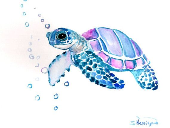 570x428 Sea Turtle, Original Watercolor Painting, 9 X 12 In, Sea Animal