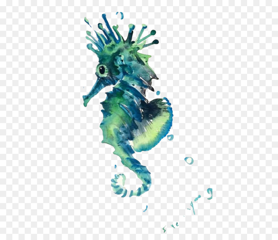 900x780 Seahorse Sea Creatures Watercolor Painting