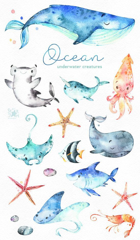 550x943 This Ocean Creatures Watercolor Set Is Just What You Needed For