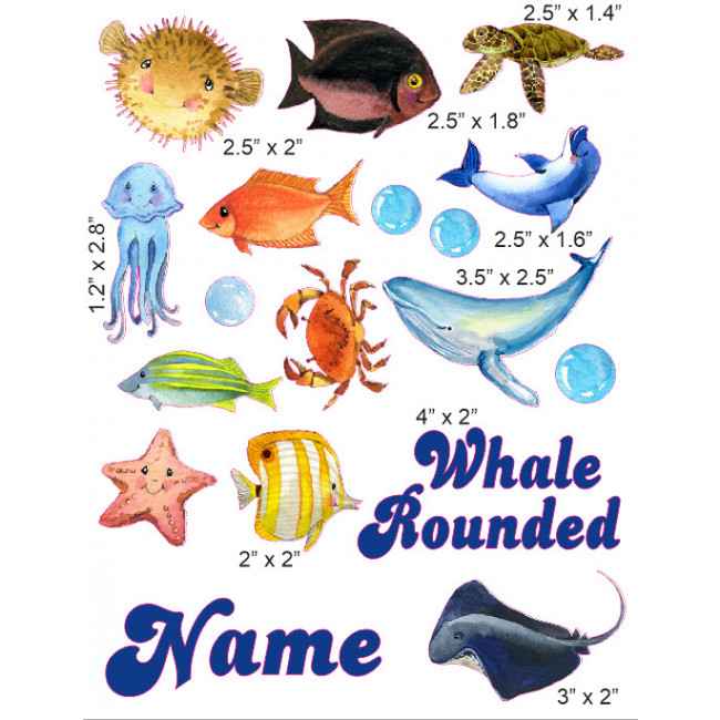 650x650 Watercolor Sea Creatures Cranial Band Decoration From High Quality
