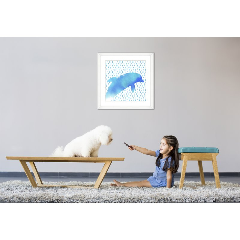 800x800 Birch Lane Dolphin Watercolor Sea Creatures Framed Graphic