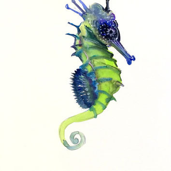 354x354 Blue Green Seahorse, Original Watercolor From Originalonly