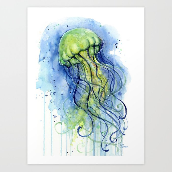 700x700 Jellyfish Watercolor Beautiful Sea Creatures Art Print By Olechka