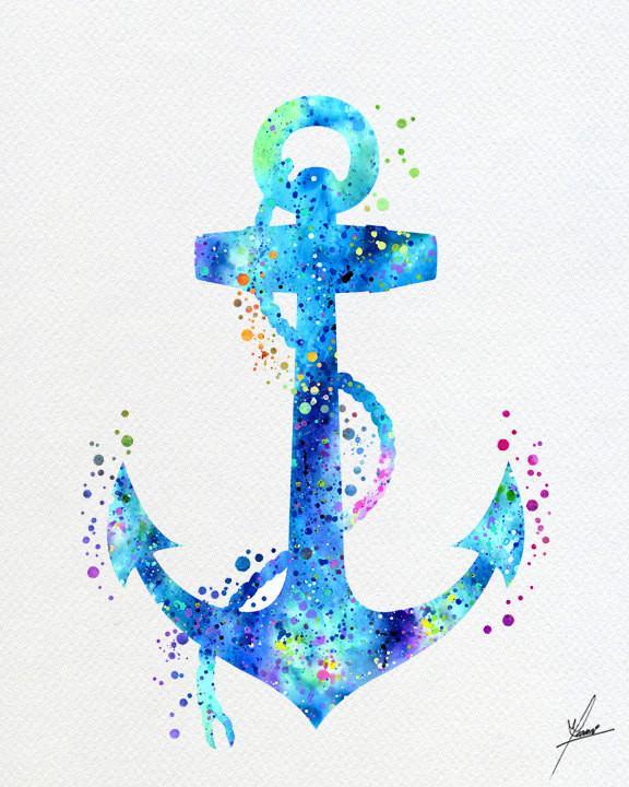 576x720 Anchor Aqua Sea Life Watercolor Illustrations Wall Art Poster Wall