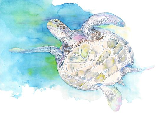 570x404 Sea Turtle Print St26118 Sea Turtle Watercolour Painting Etsy
