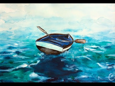 480x360 Watercolor Sea Boat Painting Demonstration