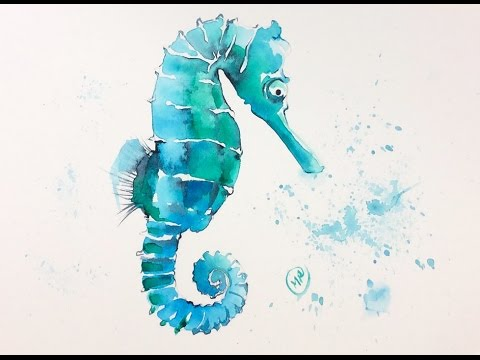 480x360 Watercolor Seahorse Painting Demonstration