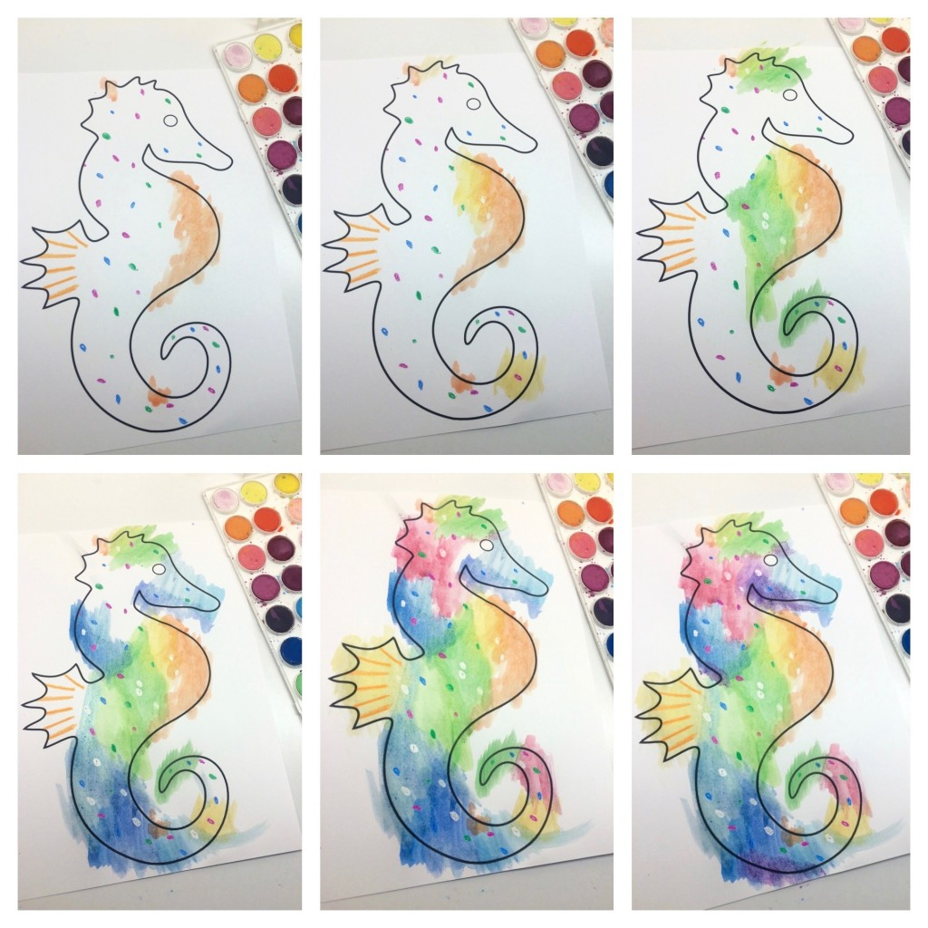 1024x1024 Eric Carle Inspired Watercolor Seahorse Collage