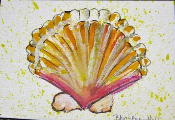 570x391 Aceo Original Seashell Watercolor Painting Seashell Painting Etsy