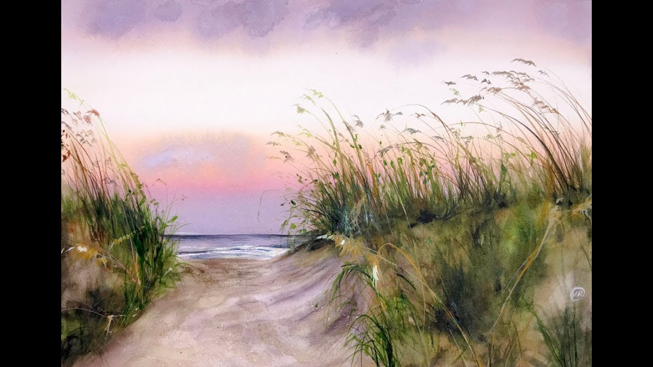 1280x720 Seaside Watercolor Painting Demonstration