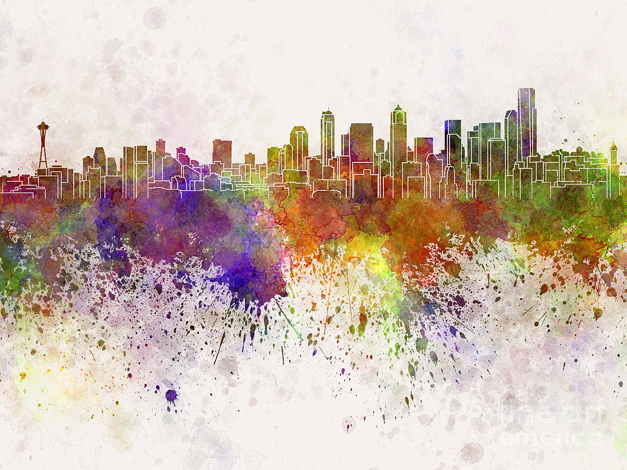 900x675 Seattle Skyline In Watercolor Background Painting By Pablo Romero