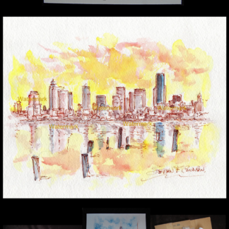 324x324 Seattle Skyline Watercolor Painting At Sunset For Sale ~ 879