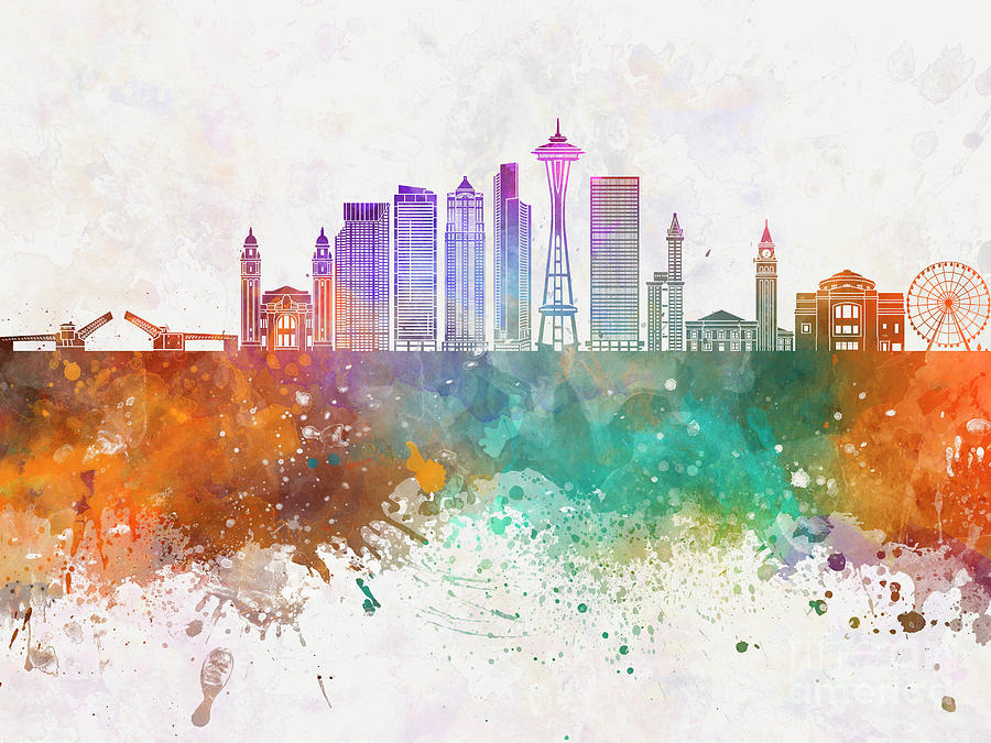 900x675 Seattle V2 Skyline In Watercolor Background Painting By Pablo Romero