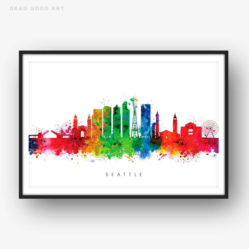 1000x1000 Seattle Skyline, Multi Color Watercolor Print Dead Good Art