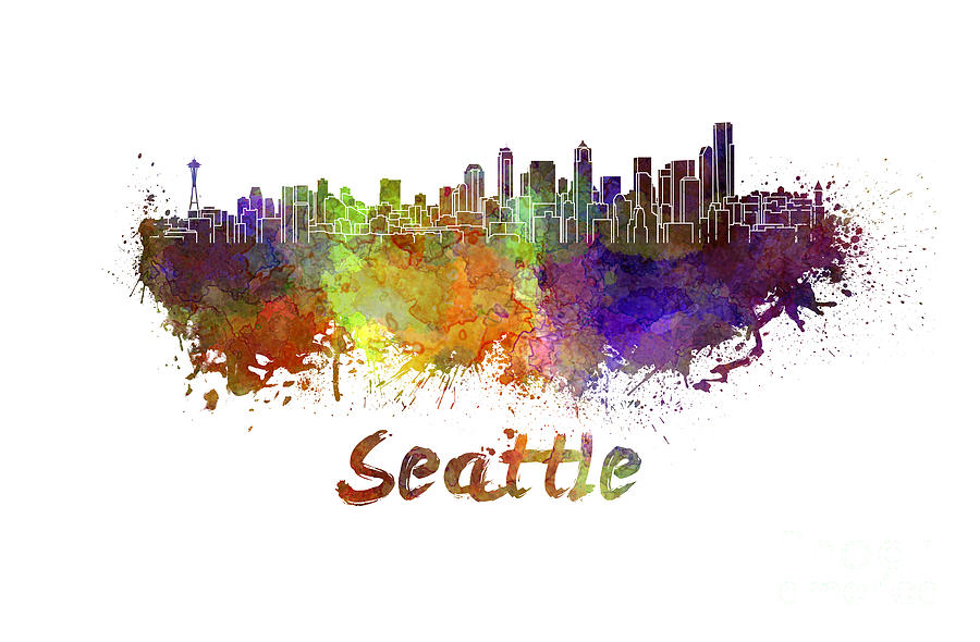 900x590 Seattle Skyline In Watercolor Painting By Pablo Romero