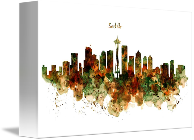 650x470 Seattle Watercolor Skyline Poster By Marian Voicu