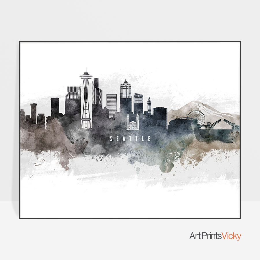 900x900 Seattle Art Poster Watercolor Artprintsvicky