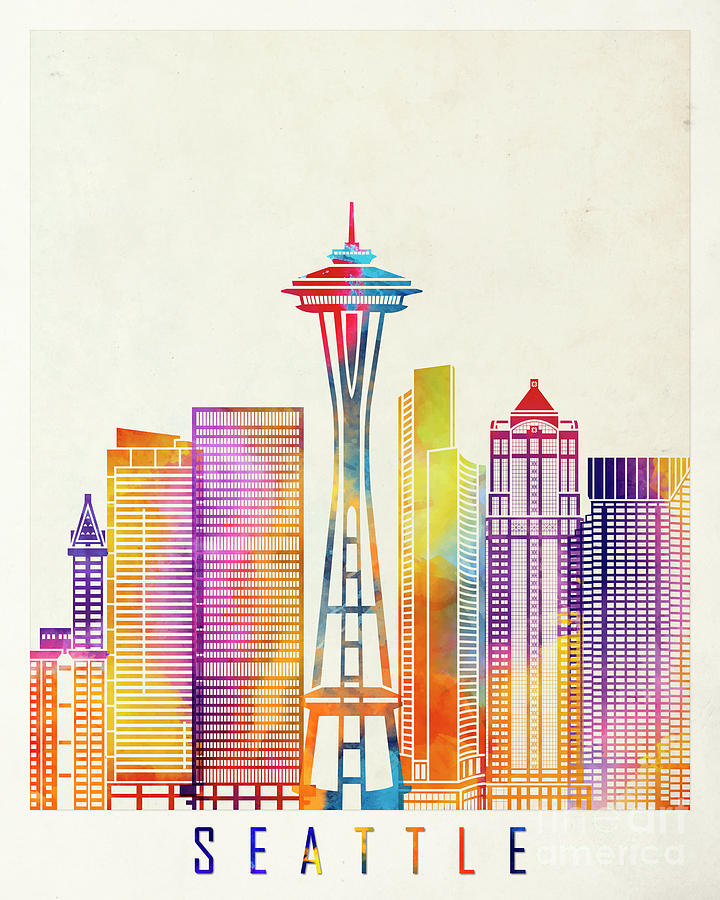720x900 Seattle Landmarks Watercolor Poster Painting By Pablo Romero