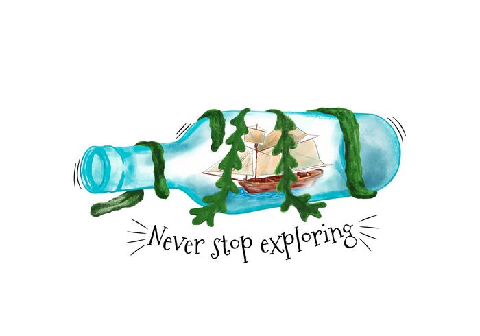 700x490 Watercolor Bottle With Ship Inside And Seaweed With Quote