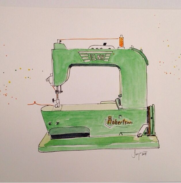 629x636 Machine Watercolor Elna Grasshopper Sewing Room Wishful Thinking