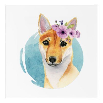 422x422 Shiba Inu With Flower Crown Watercolor Painting Acrylic Wall Art