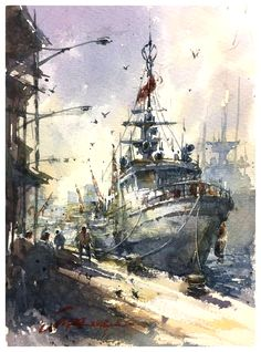 Ship Watercolor