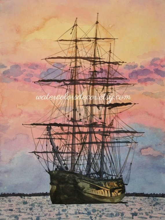 570x758 Original Sunset Clipper Ship Watercolor Painting Nautical Etsy