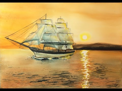 480x360 Watercolor Clipper Ship Painting Demonstration