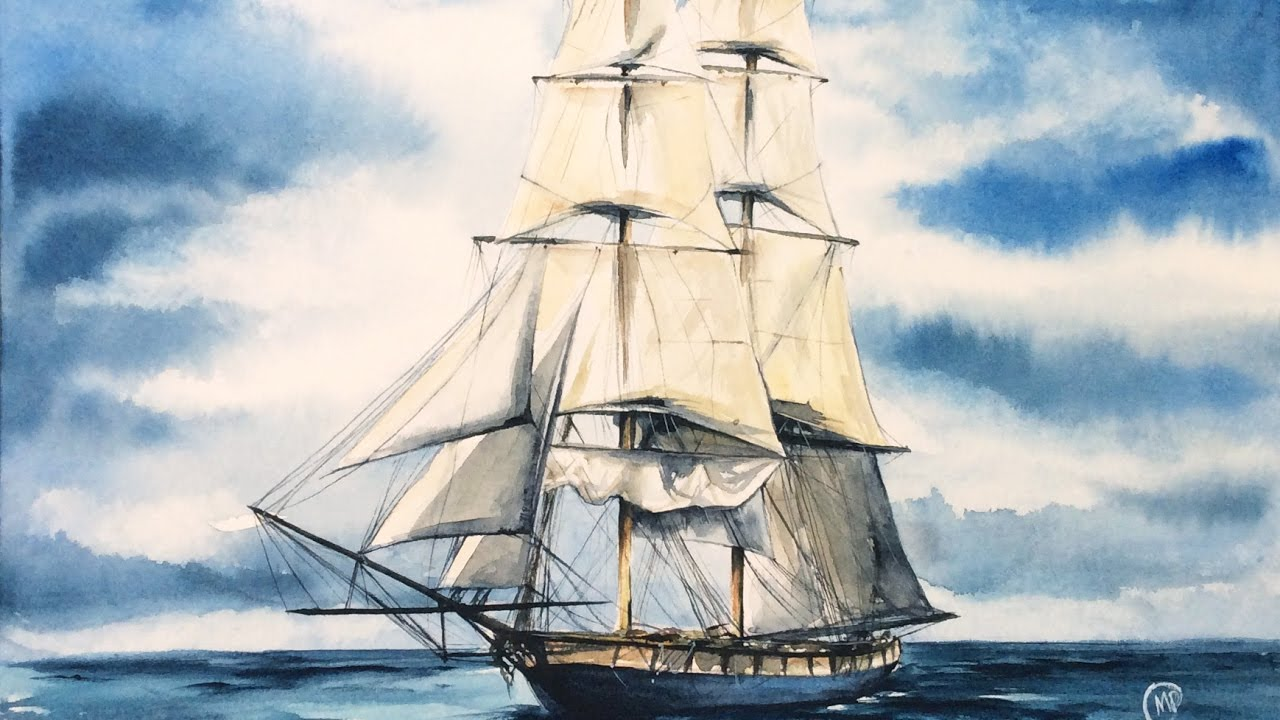 1280x720 Watercolor Tall Ship In The Ocean Painting Demonstration