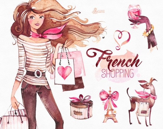 570x452 French Shopping. Watercolor Fashion Clipart Shoes Fashion Etsy