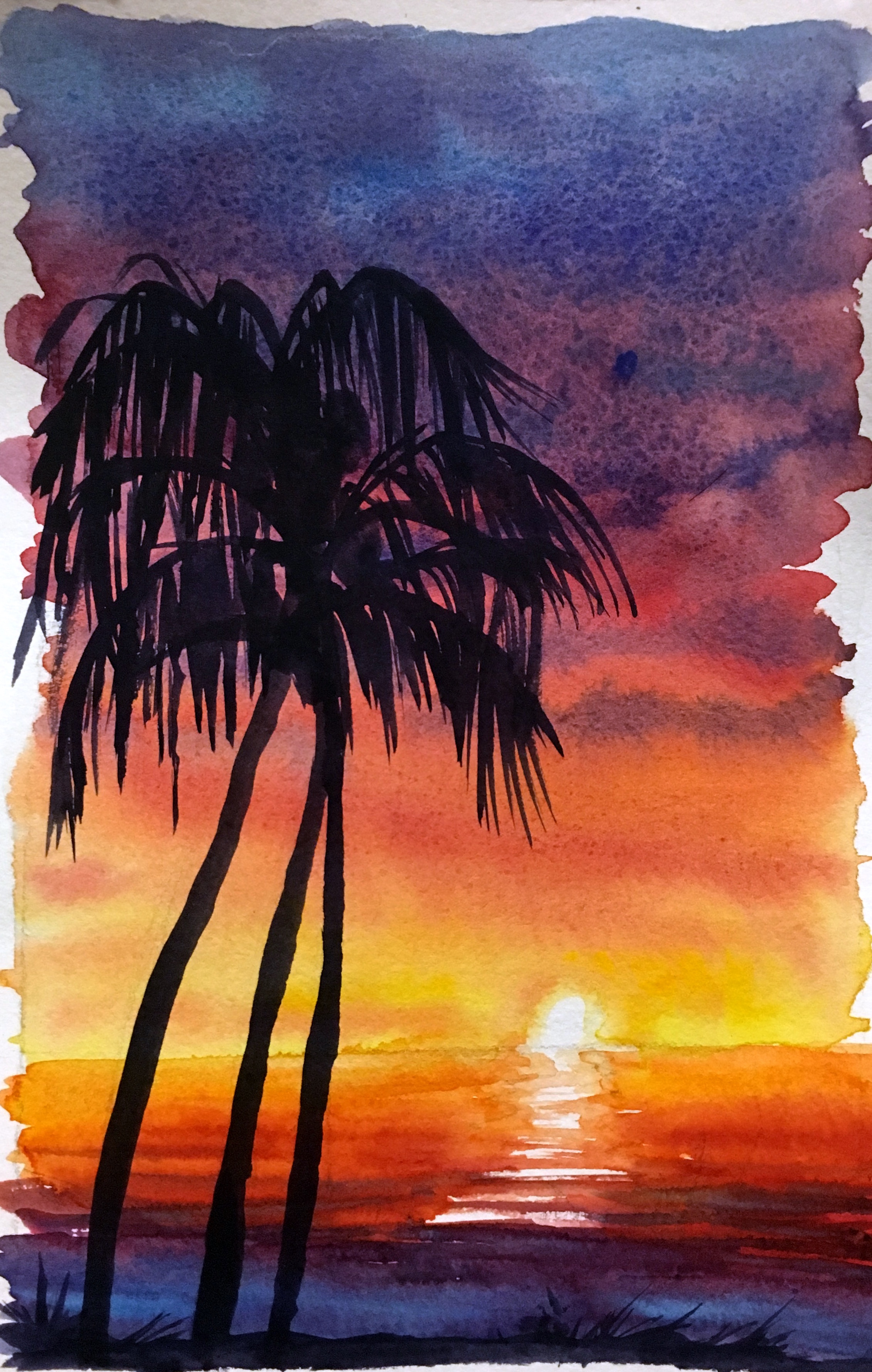 2262x3560 How To Watercolor Paint A Sunset Sky With Silhouettes