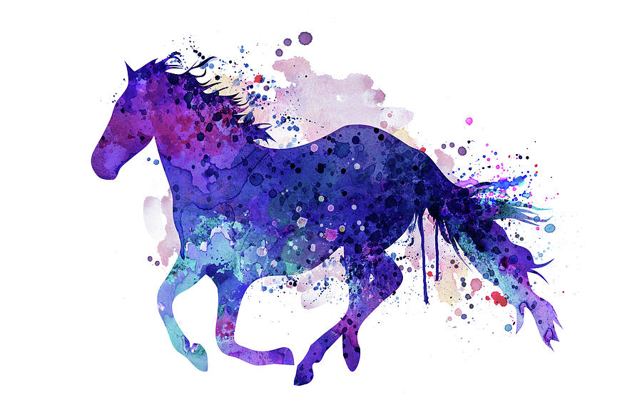 900x582 Running Horse Watercolor Silhouette Painting By Marian Voicu