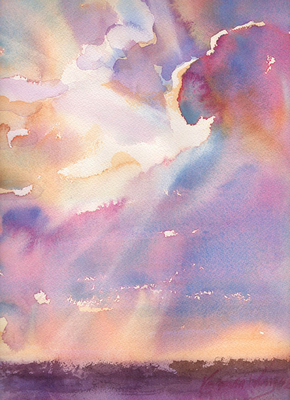 570x787 Silver Lining Cloudy Sunset Watercolor