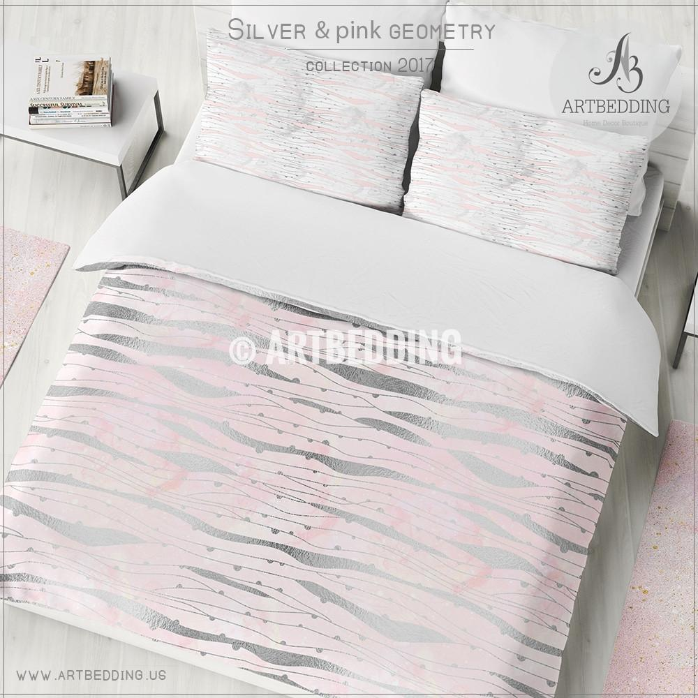 1000x1000 Silver Psychedelic Geometry Duvet Cover, Pink Handpainted