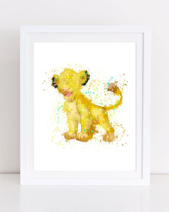 570x713 70% Simba Watercolor Lion King Watercolor Watercolor Lion Etsy